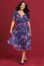 Victoria Vintage Oriental Print Purple Angel Sleeve Mesh Midi Dress