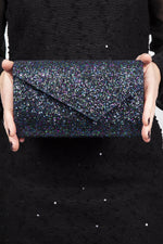 Scarlett & Jo Bags Asymmetric chunky glitter clutch bag - Blue / Green