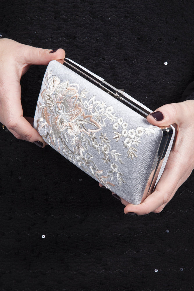 Scarlett & Jo Bags Elise Embroidered Clutch Bag - Silver