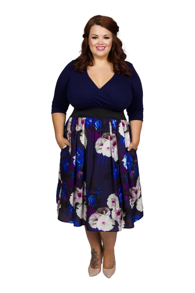 Scarlett & Jo Dresses 10 / Blue/Burgundy/White Wrap Floral 2 in 1 Dress