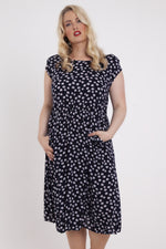 Amy Navy Daisy Scoop Neck Pocket Dress