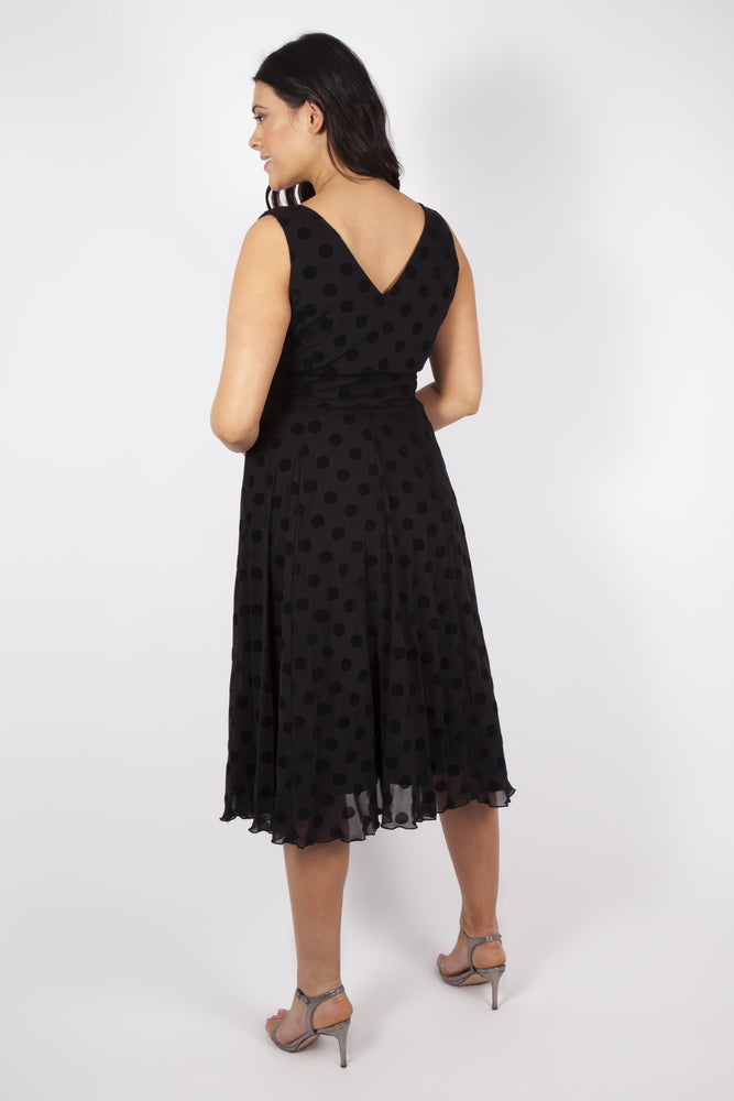 Scarlett & Jo Dresses BLACK / 10 Ava Black Velvet Marilyn Spot Midi Dress