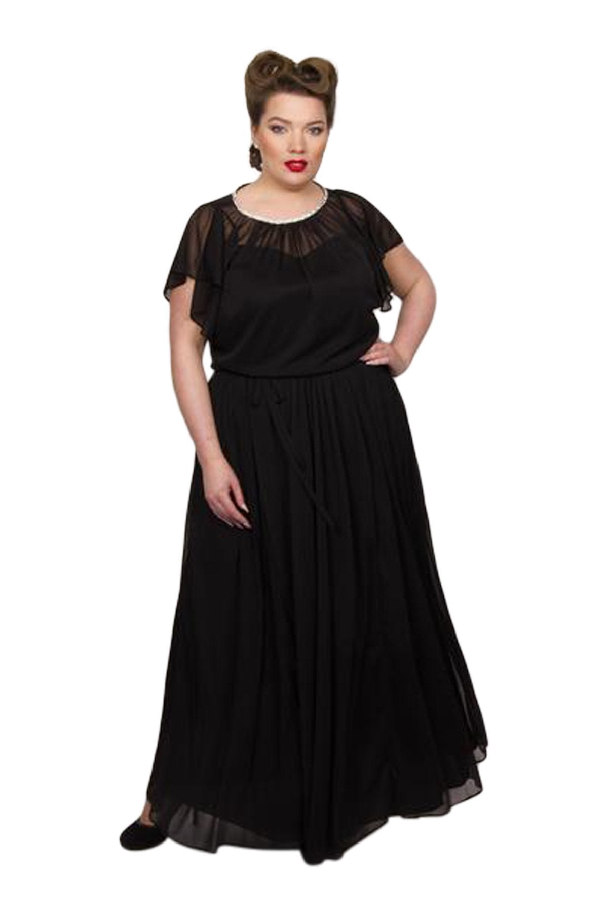 60s 70s Plus Size Dresses, Clothing, Costumes Chiffon Maxi Dress - Black  24 �75.00 AT vintagedancer.com