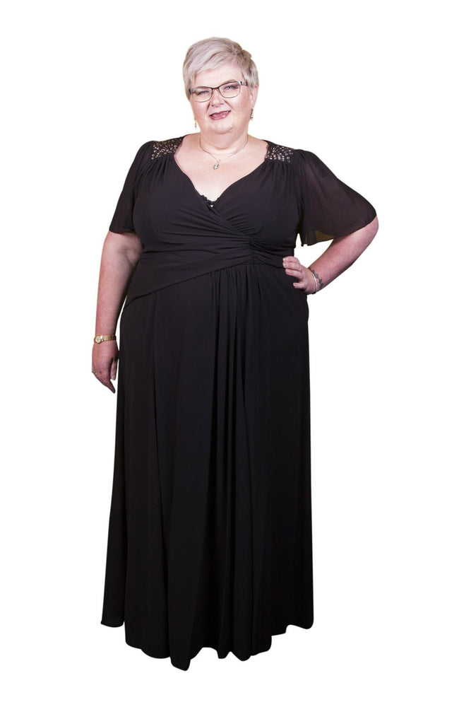 Scarlett & Jo Dresses Black / 10 Embellished Shoulder Wrap Gown