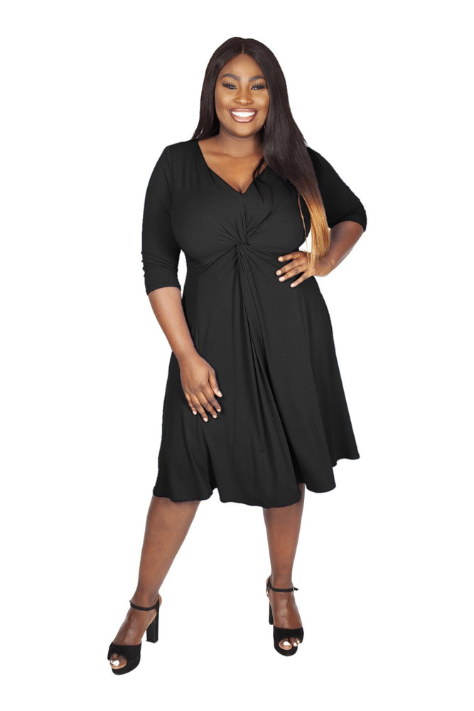 Lauren Black Jersey Knot Front Dress