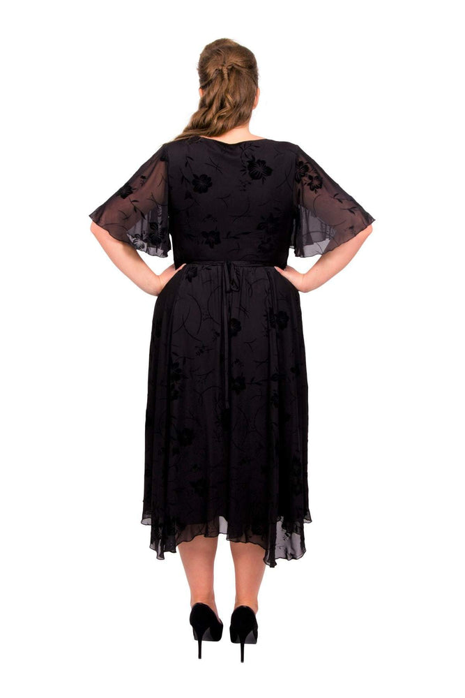 Scarlett & Jo Dresses Black / 10 Philippa Velvet Floral Hanky Hem Dress
