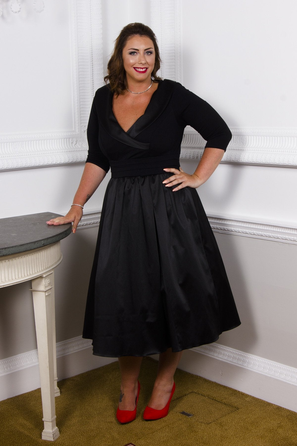 Vintage Evening Dresses and Formal Evening Gowns The Olivia Satin Tuxedo Prom Dress - Black  16 £90.00 AT vintagedancer.com