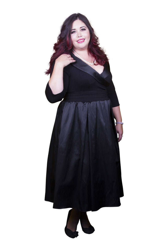 Scarlett & Jo Dresses Black / 10 The Olivia Satin Tuxedo Prom Dress