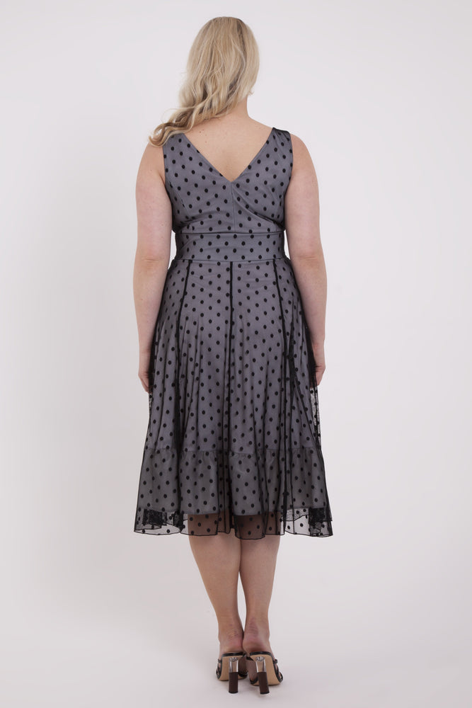 Scarlett & Jo Dresses BLACK / 12 Elodie Black Spotty Midi Dress