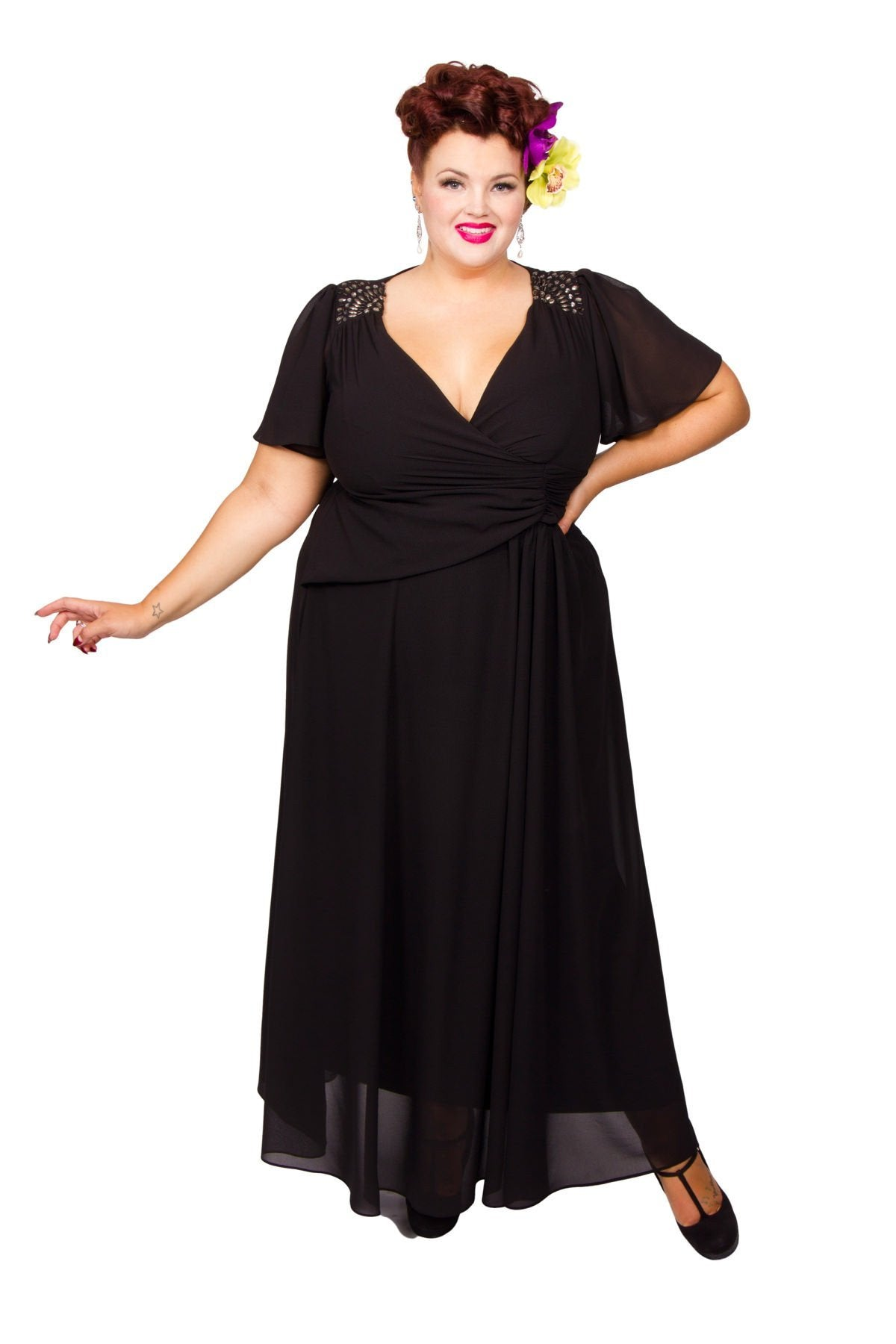 1940s Dresses and Clothing UK | 40s Shoes UK Embellished Shoulder Wrap Gown - Black  26 £80.00 AT vintagedancer.com