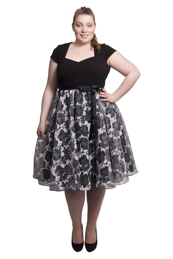 Scarlett & Jo Dresses Black / 12 Organza Rose Prom Dress