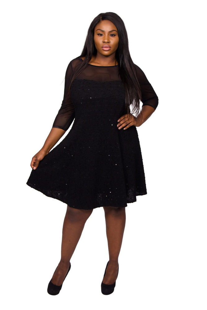Scarlett & Jo Dresses Black / 12 Sara Boucle Fit And Flare Dress