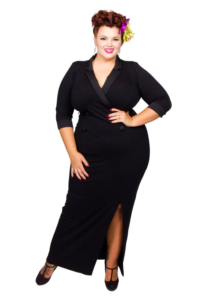 Scarlett & Jo Dresses Black / 12 Tuxedo Maxi Dress