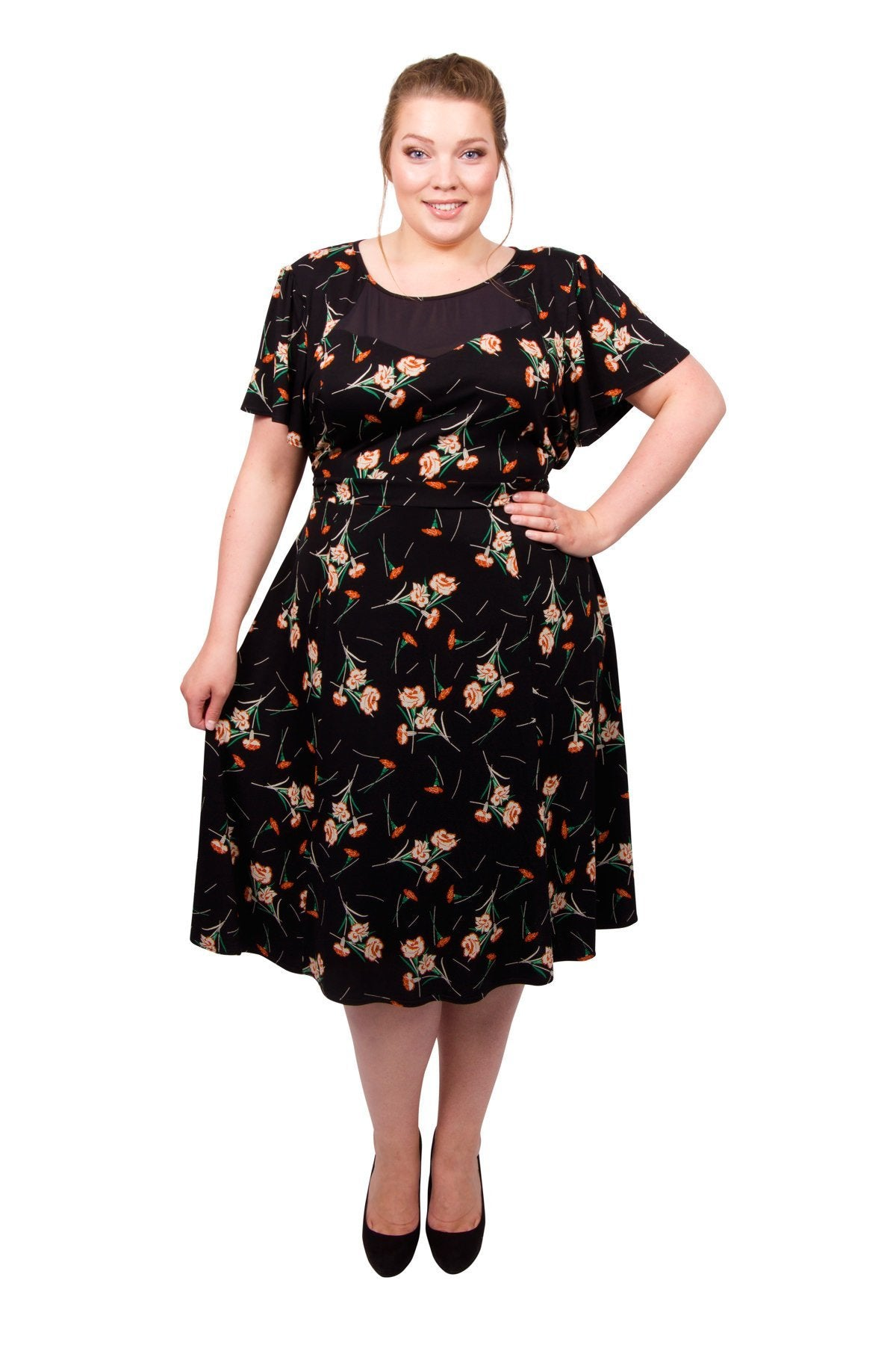 1940s Plus Size Fashion: Style Advice from 1940s to Today 40s Sweetheart Mesh Panelled Dress - Black  10 �50.00 AT vintagedancer.com