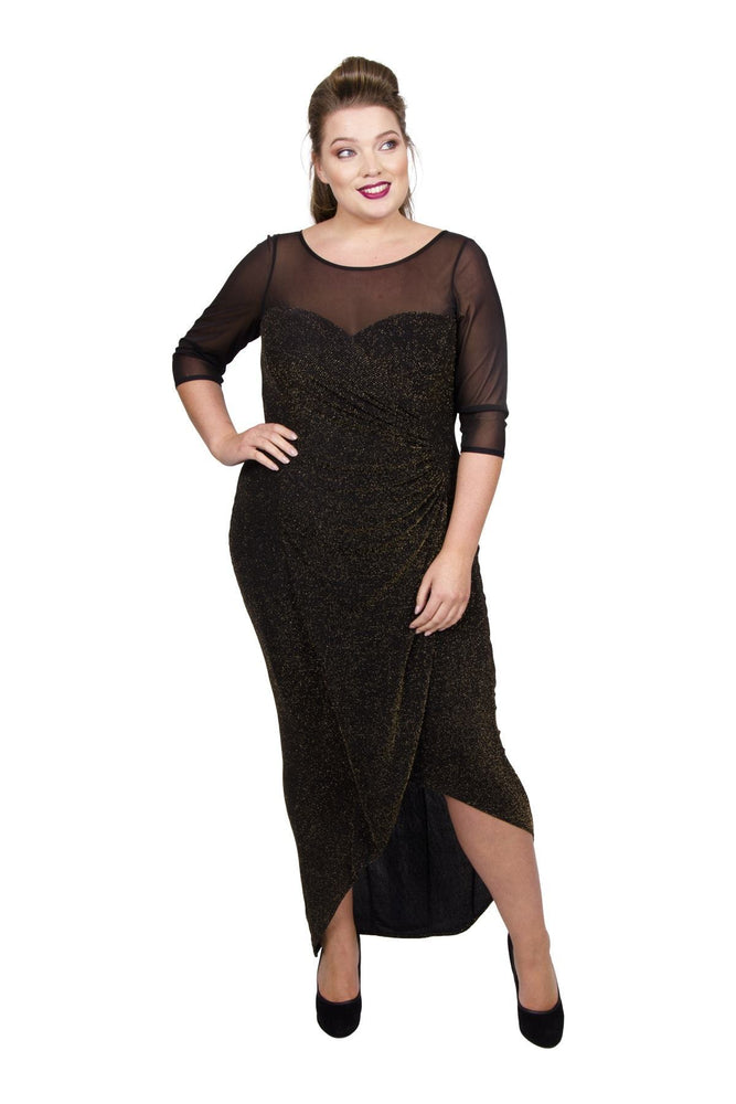 Sweetheart Mesh Neck & Sleeve Lurex Maxi Bodycon Dress