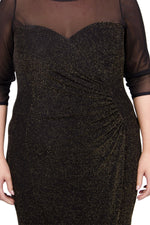 Scarlett & Jo Dresses Black/Gold / 10 Sweetheart Mesh Neck & Sleeve Lurex Maxi Bodycon Dress