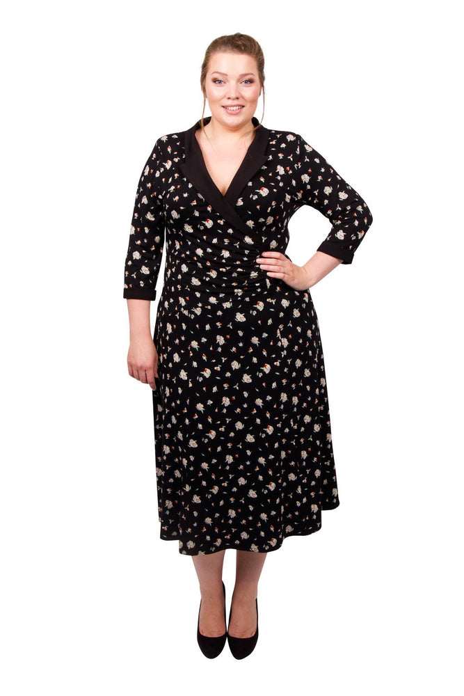 Floral Wrap Collar Dress