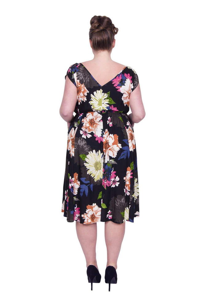Scarlett & Jo Dresses BLACK/MULTI / 10 Multi Floral Print Pocket Dress