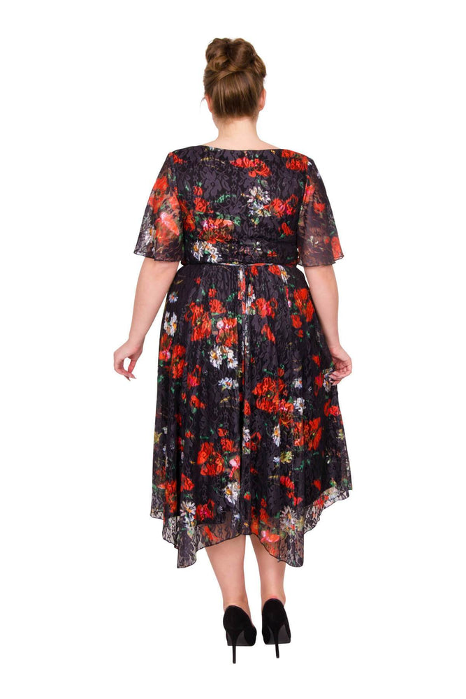 Scarlett & Jo Dresses BLACK PRINT / 10 Chantelle 'In Lace' Hanky Hem Dress