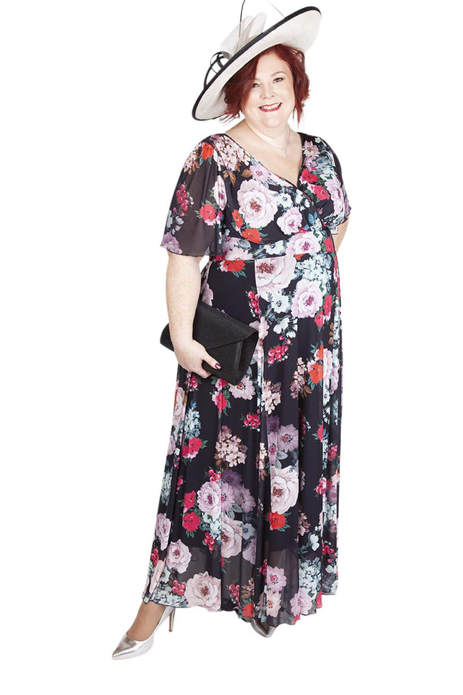 Scarlett & Jo Dresses BLACK PRINT / 10 The Emily Float Sleeve Maxi Dress