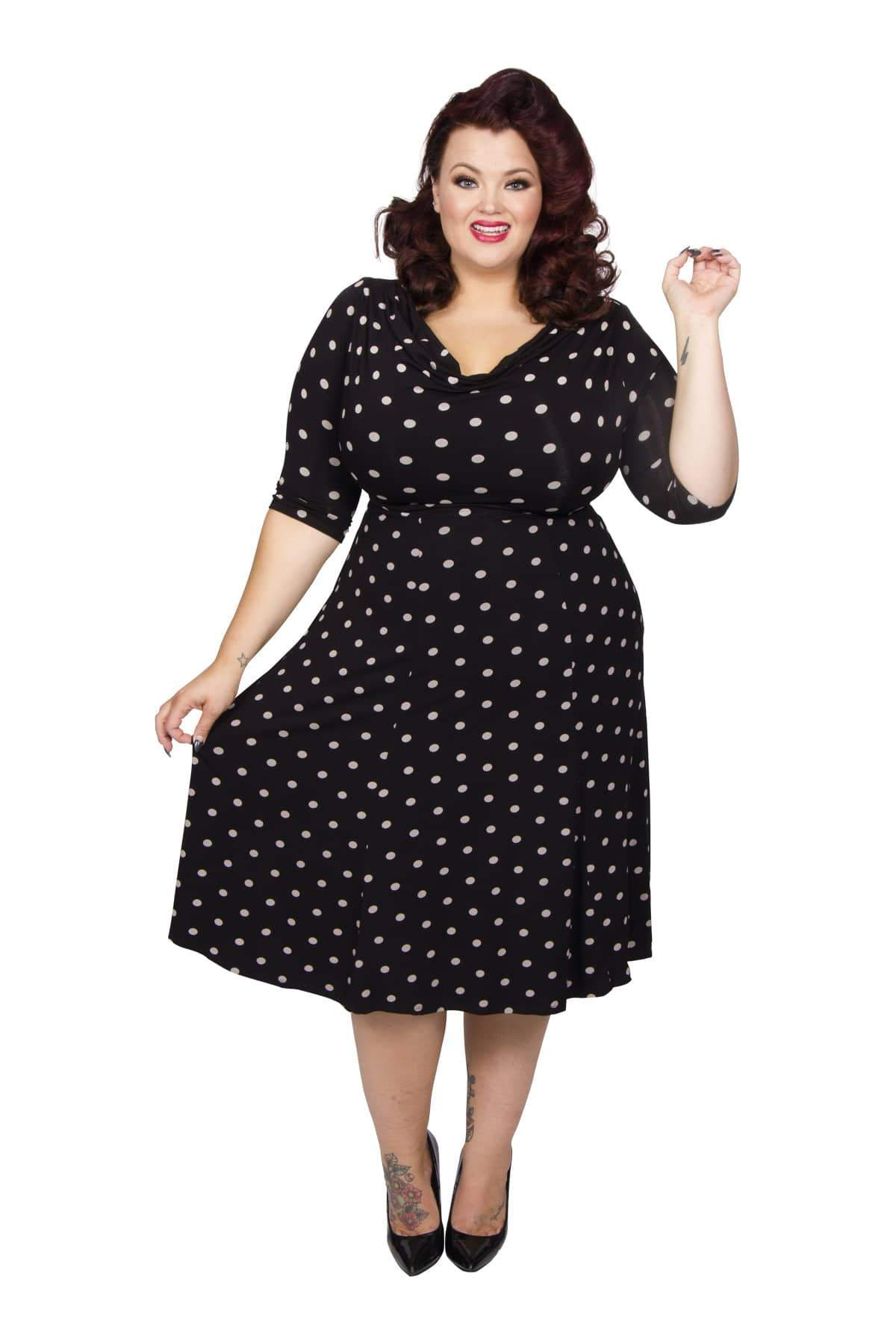 1940s Plus Size Dresses | Swing Dress, Tea Dress Lollidot Cowl Neck 40s Dress - BlackWhite  12 £60.00 AT vintagedancer.com