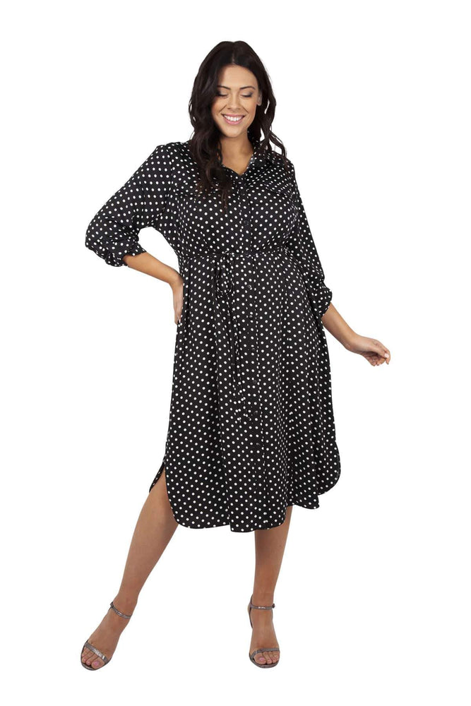 Lollidot Black & White Spot Shirt Dress