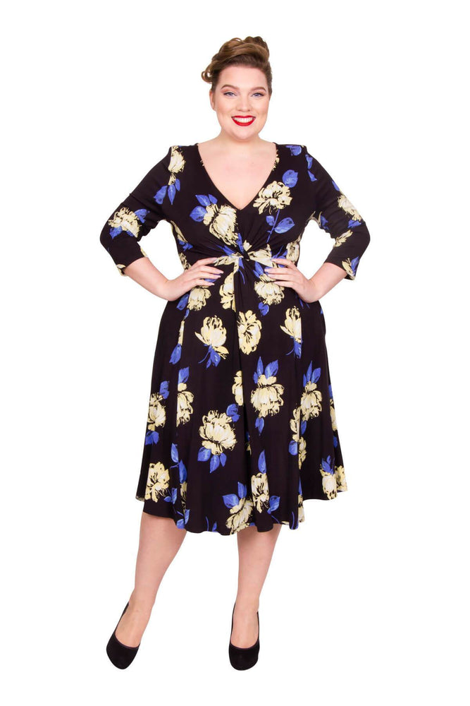 Scarlett & Jo Dresses BLK/CRM/BLU / 10 Louisa Flower Print Knot Front Dress