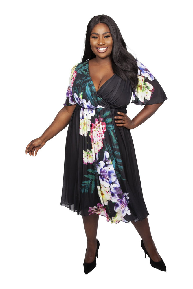 Scarlett & Jo Dresses BLK/PURPLE / 10 Yasmin Wrap Dress