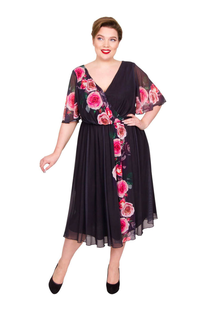 Scarlett & Jo Dresses BLK/RED/PNK / 10 Romantic Rose Marilyn Dress