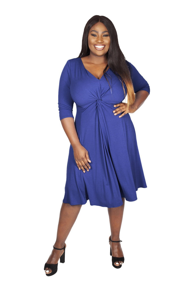 Lauren Blue Jersey Knot Front Dress