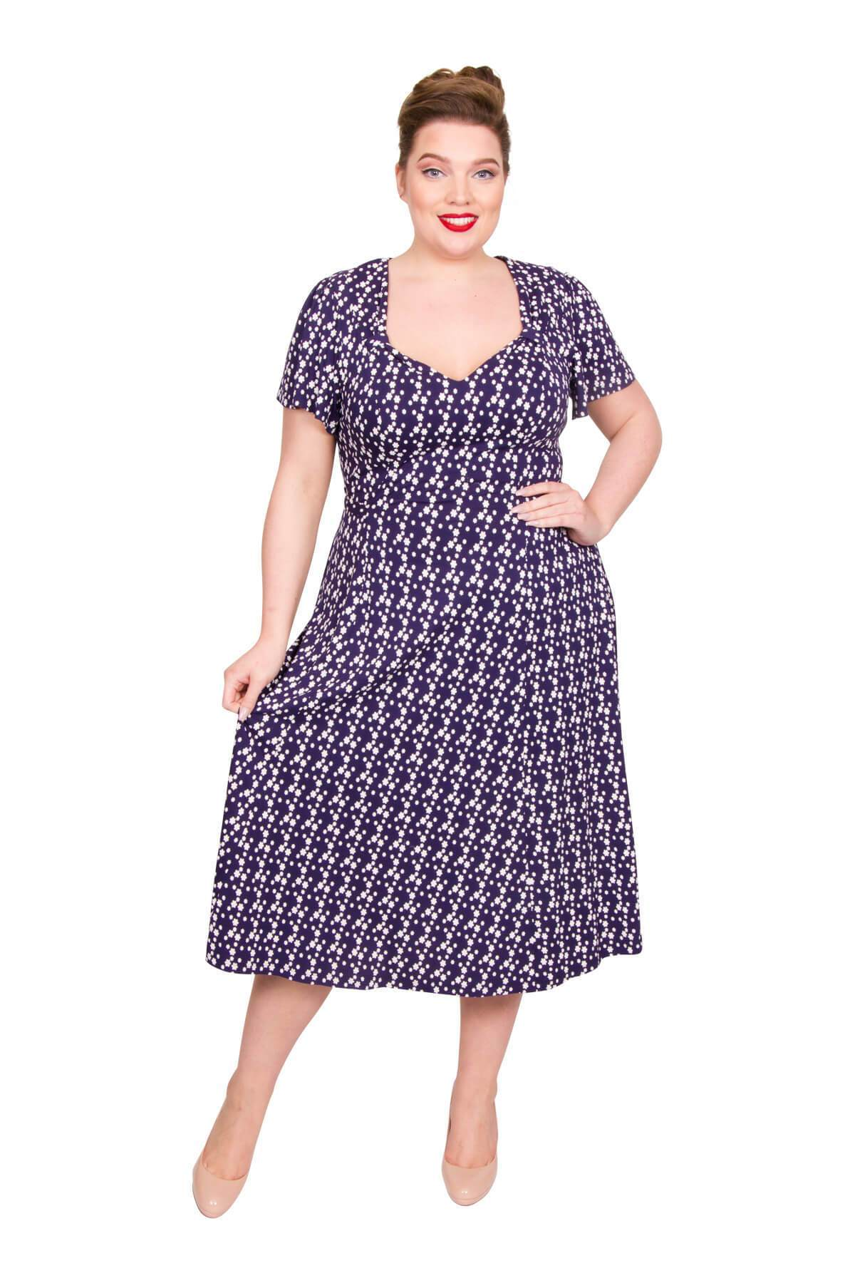 Swing Dance Clothing You Can Dance In Floral Star 40s Dress - BLUEWHITE  20 £50.00 AT vintagedancer.com