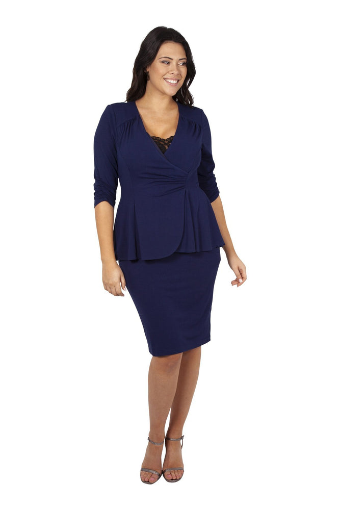 Navy Jersey Lace Insert Peplum Dress