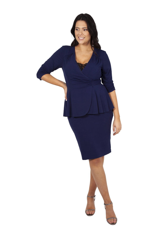Scarlett & Jo Dresses BLUEBERRY / 10 Lace Inserted Peplum Dress