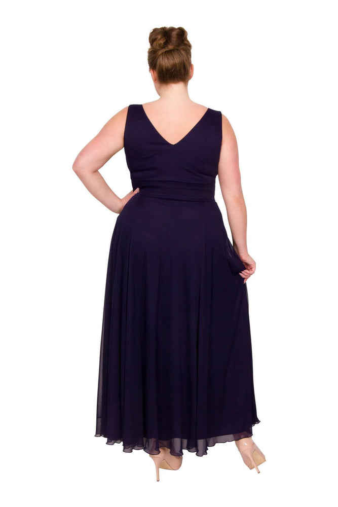 Scarlett & Jo Dresses BLUEBERRY / 10 Nancy Marilyn Chiffon Maxi Dress