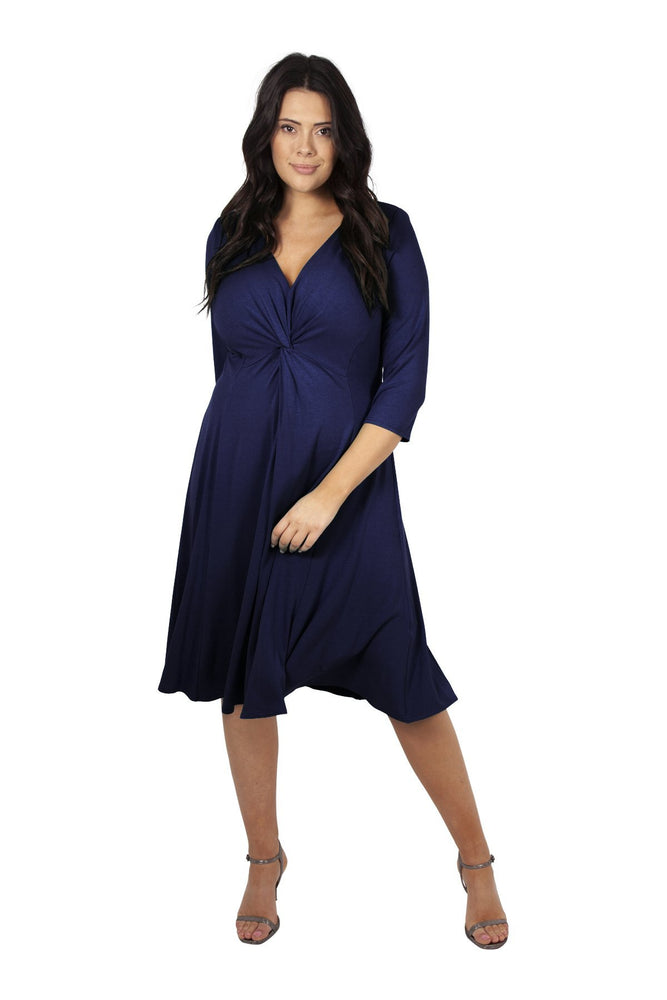 Lauren Navy Jersey Knot Front Dress