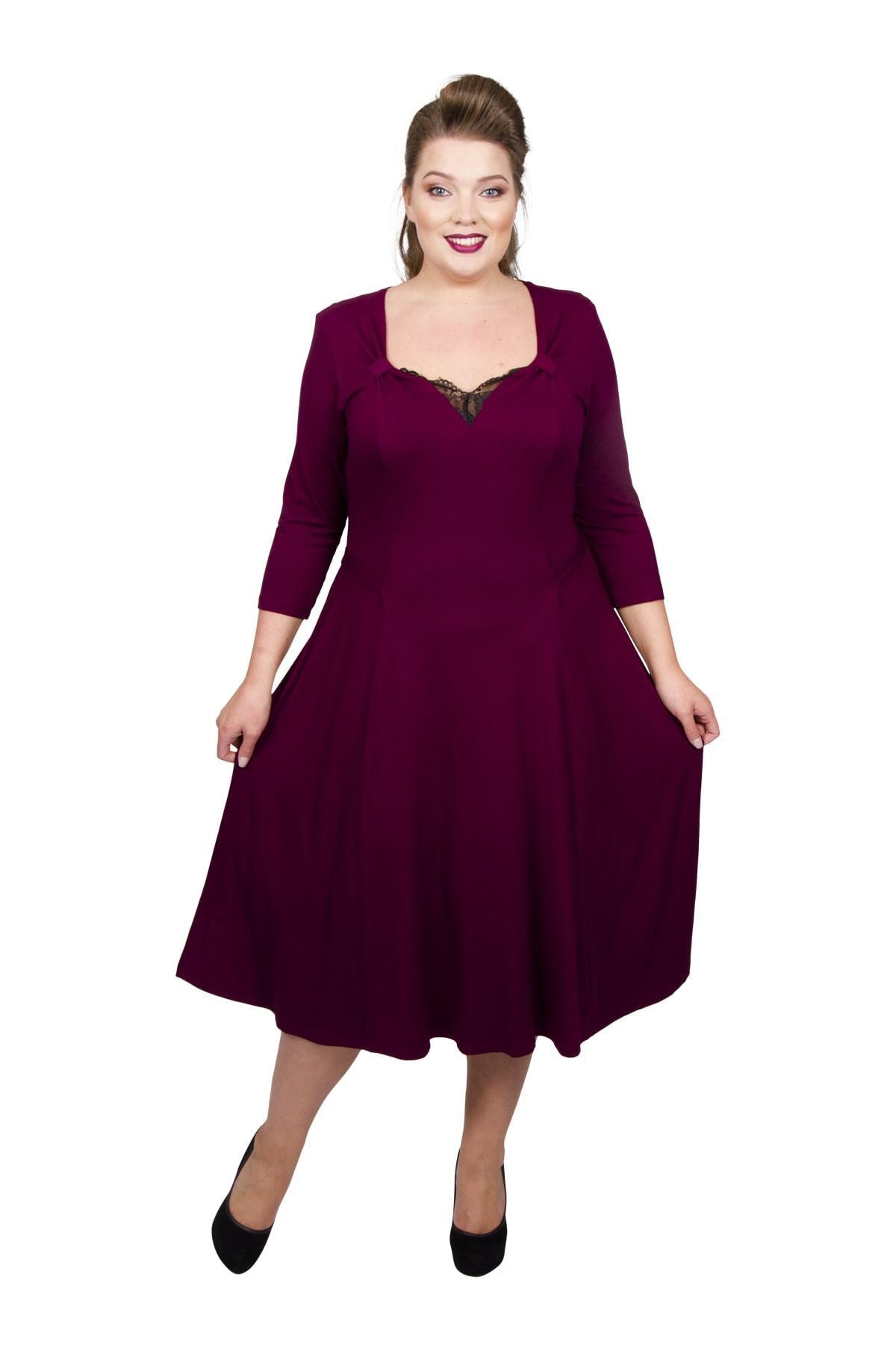 1940s Plus Size Dresses | Swing Dress, Tea Dress Lace Sweetheart Tab 40s Dress - Burgundy  16 £55.00 AT vintagedancer.com