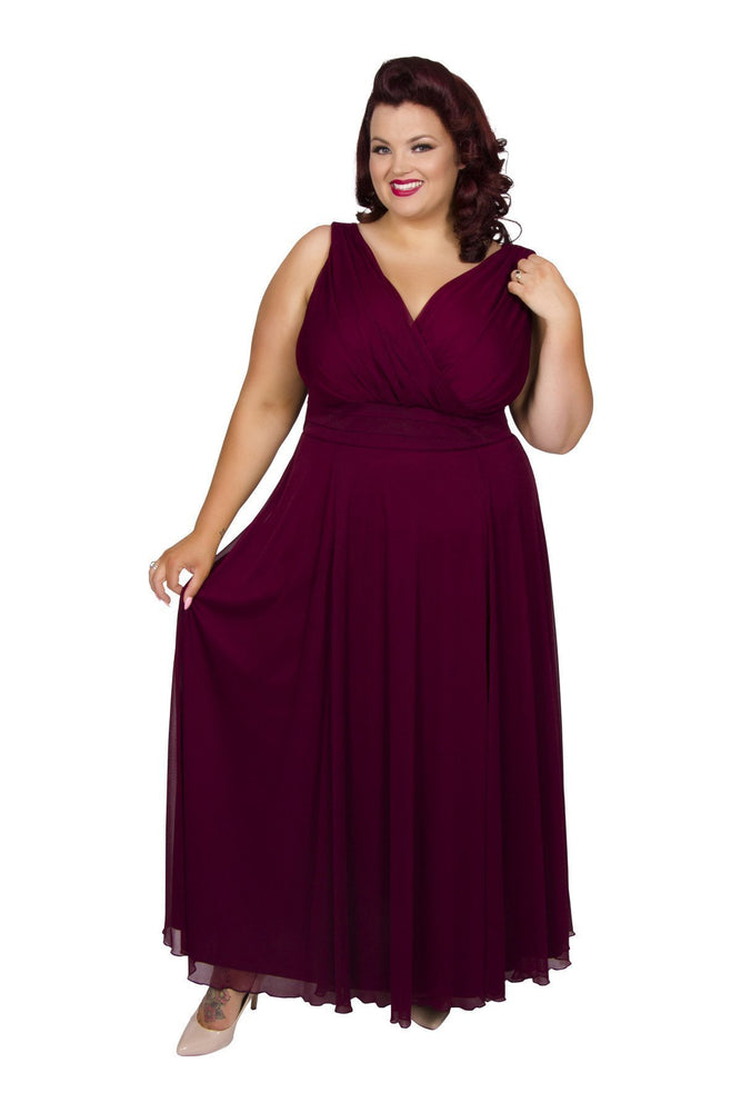 Scarlett & Jo Dresses Burgundy / 10 Nancy Marilyn Chiffon Maxi Dress