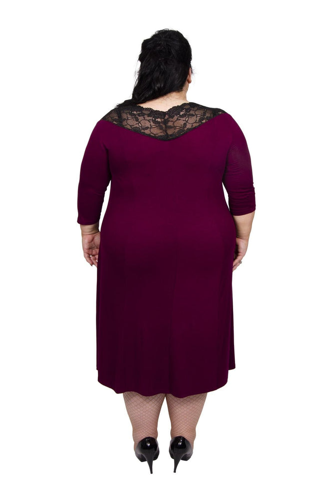 Scarlett & Jo Dresses Burgundy / 10 The Sophie Off Shoulder Lace Dress