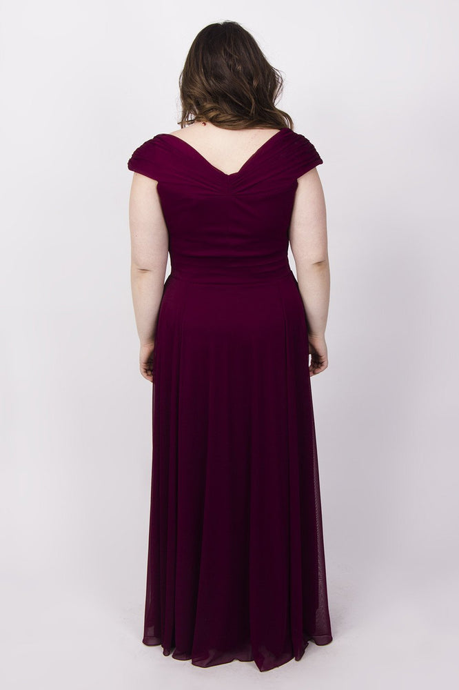 Scarlett & Jo Dresses Burgundy / 12 Off The Shoulder Wrap Maxi Dress