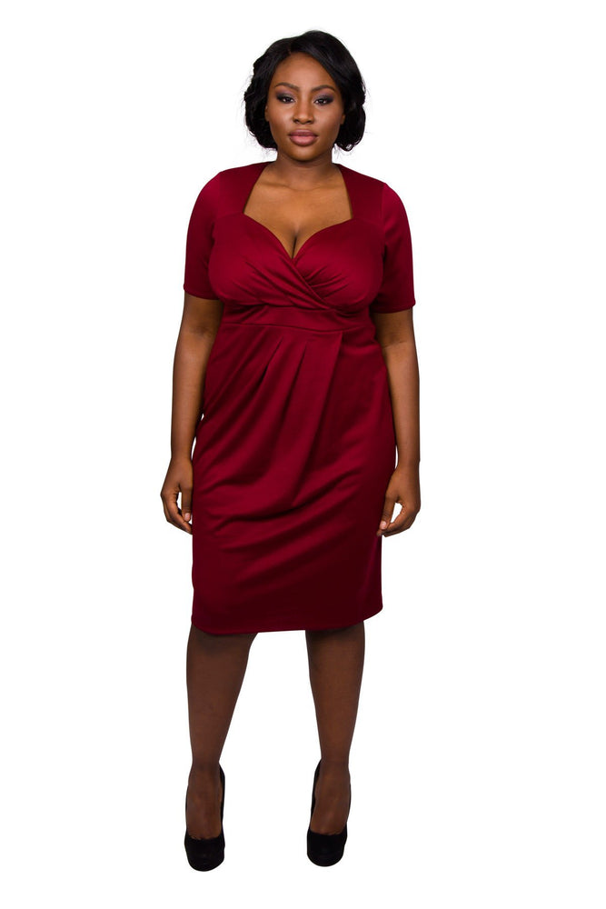 Twist Skirt Bodycon Dress (Burgundy)