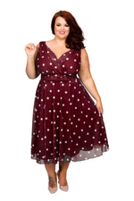 Scarlett & Jo Dresses Burgundy/White / 10 Marilyn Spot Midi Dress