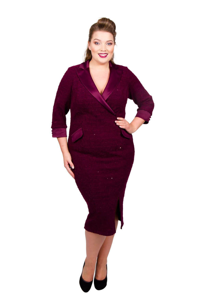 Scarlett & Jo Dresses Claret / 10 Boucle Tuxedo Dress