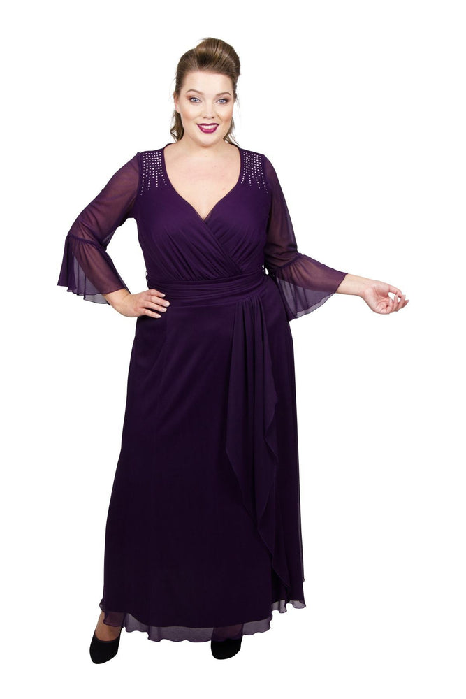 Front Drape Flutter Sleeve Maxi Dress