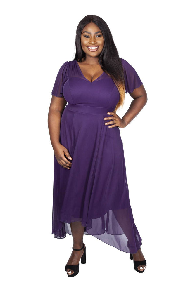 Tilly Purple Angel Sleeve Sweetheart Dress