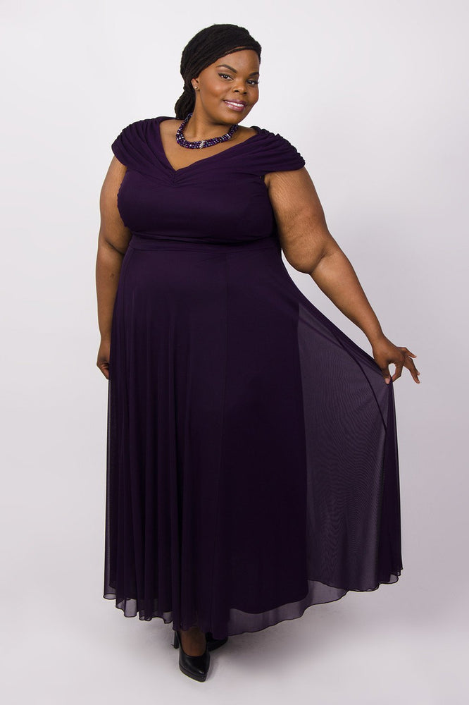 Scarlett & Jo Dresses Damson / 12 Off The Shoulder Wrap Maxi Dress