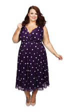 Scarlett & Jo Dresses DAMSONWHTE / 10 Marilyn Spot Midi Dress