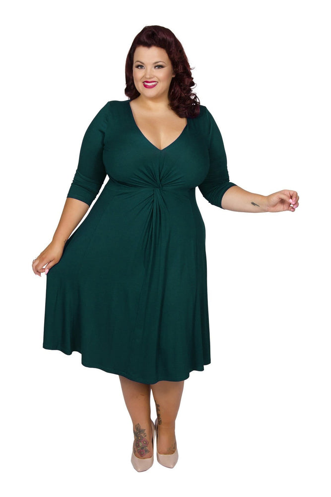 Lauren Dark Green Jersey Knot Front Dress