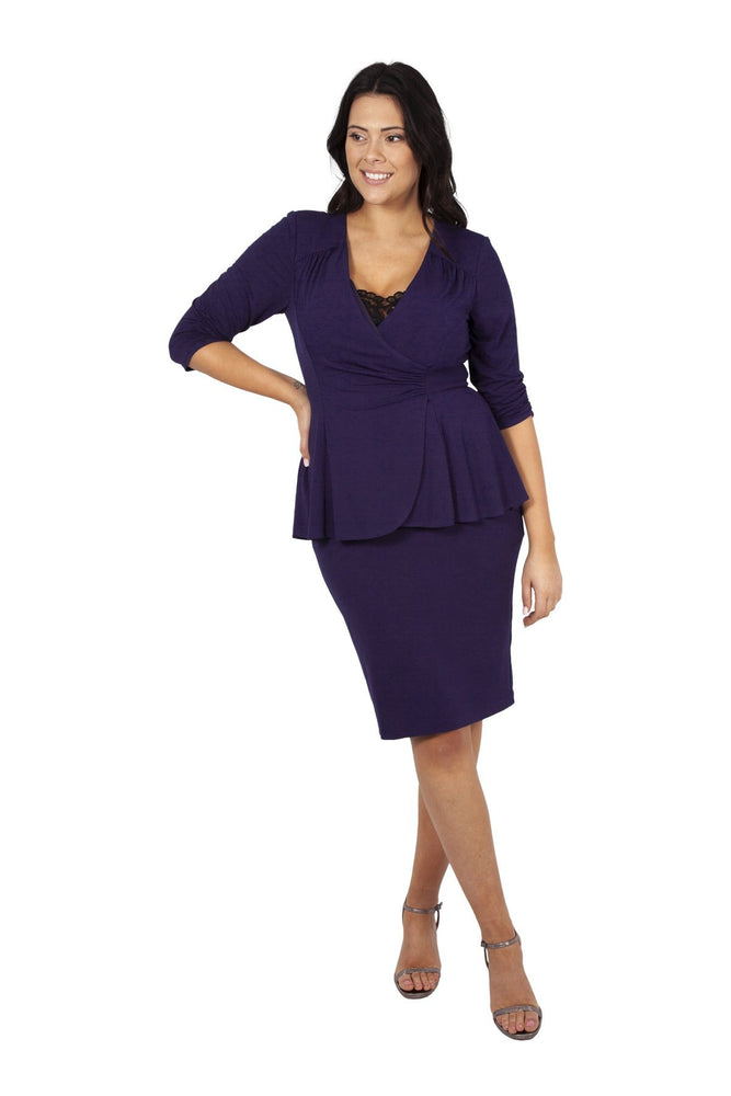 Purple Jersey Lace Insert Peplum Dress