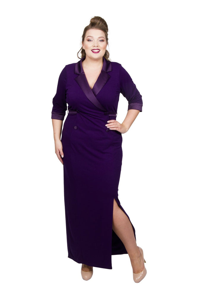 Scarlett & Jo Dresses Dark Violet / 10 Tuxedo Maxi Dress