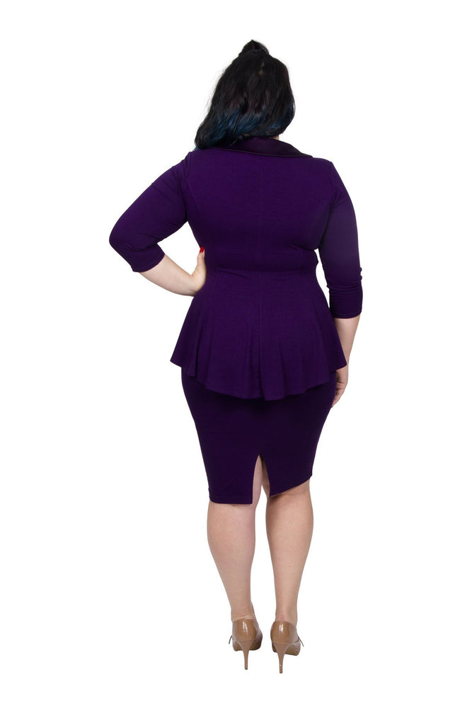 Scarlett & Jo Dresses Dark Violet / 10 Tuxedo Peplum Dress